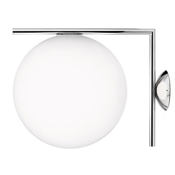 FLOS lampe murale ou au plafond IC C/W2 (Acier chromé - Verre soufflé et métal)