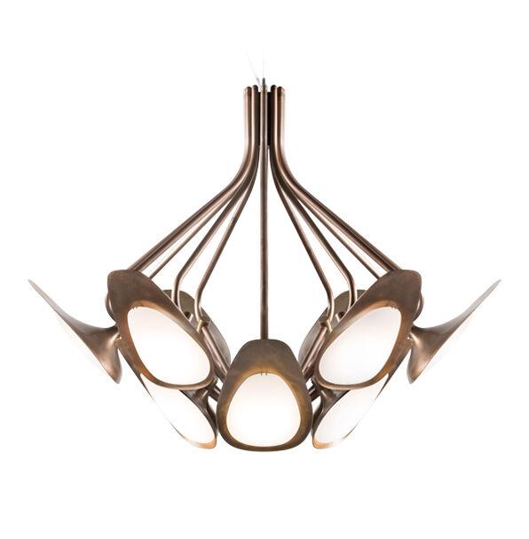 KUNDALINI lampe à suspension PEACOCK (Traité à l'acide - Laiton et verre)