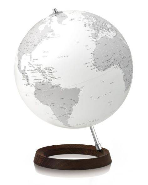 ATMOSPHERE lampe de bureau mappemonde FULL CIRCLE REFLECTION (Blanc / Gris - frêne/aluminium)