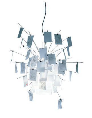 INGO MAURER lampe à suspension ZETTEL'Z 6 (H 200 cm - acier inox, verre satiné résistant à la chaleur et papier japonnais)