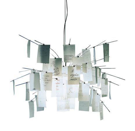 INGO MAURER lampe à suspension ZETTEL'Z 5 (H 330 cm - acier inox, verre satiné résistant à la chaleur et papier japonnais)