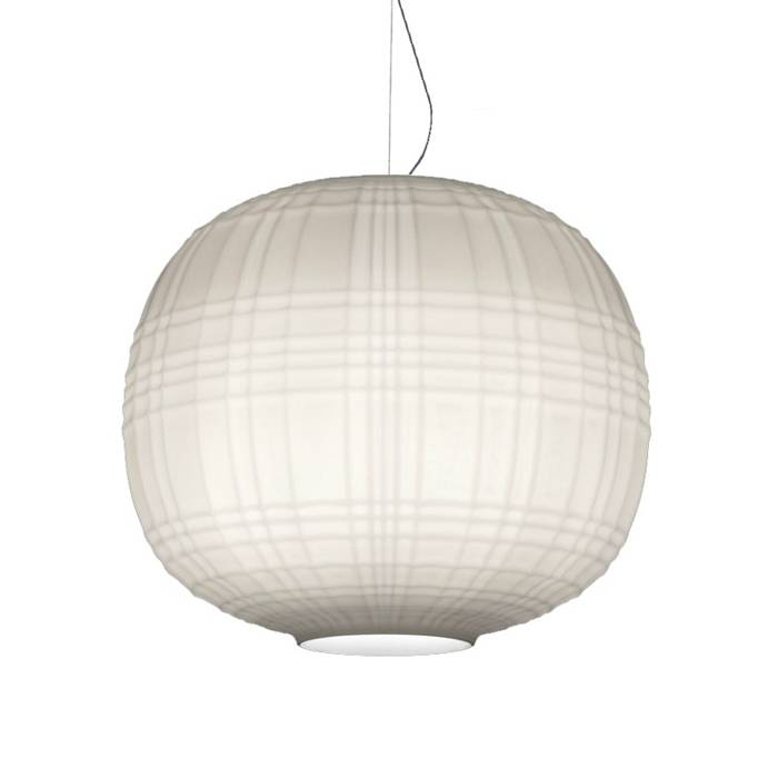 FOSCARINI lampe à suspension TARTAN LED (blanc, ampoule non comprise - Verre soufflé en relief et acidifié)