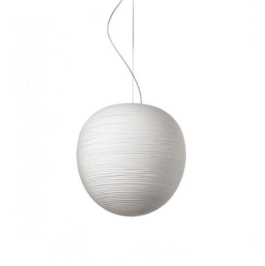 FOSCARINI lampe à suspension RITUALS XL (Blanc - Verre soufflé satiné gravé et métal verni)