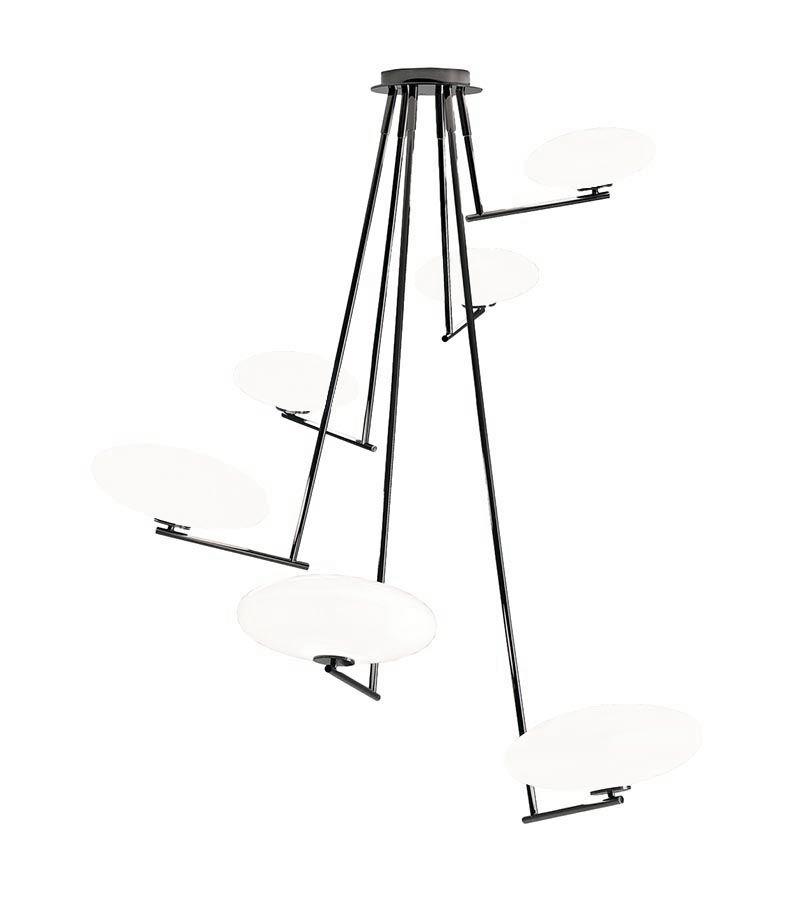 PENTA LIGHT lampe à suspension MAMì MAXI (Blanc - Métal graphite opaque et verre soufflé)