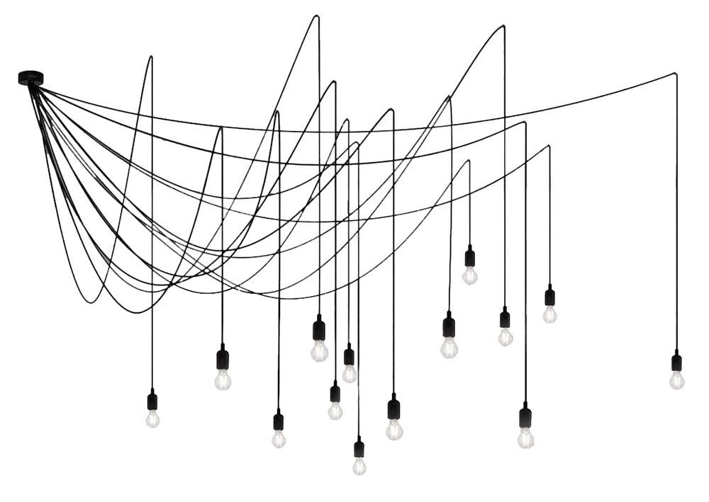 SELETTI lampe à suspension MAMAN avec 14 LED (avec variateur avec ampoules transparentes - Silicone, plastique et métal)