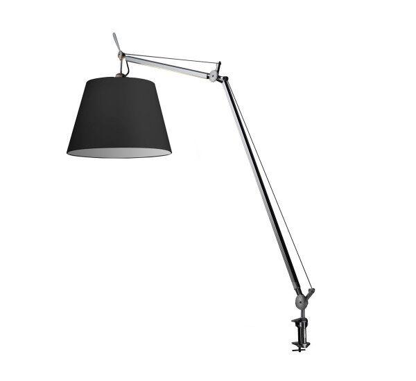 ARTEMIDE lampe de table TOLOMEO MEGA LED avec crampon (Ø 42 cm variateur sur câble - Diffuseur en tissu noir)