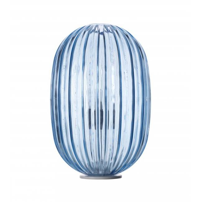 FOSCARINI lampe de table PLASS MEDIA ON/OFF (Bleu - polycarbonate en roto-moulage et acier)