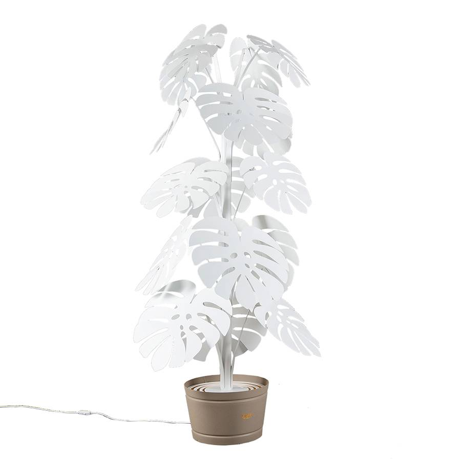 ARTI E MESTIERI lampadaire MONSTERA GRANDE (blanc, vase beige - Métal verni)