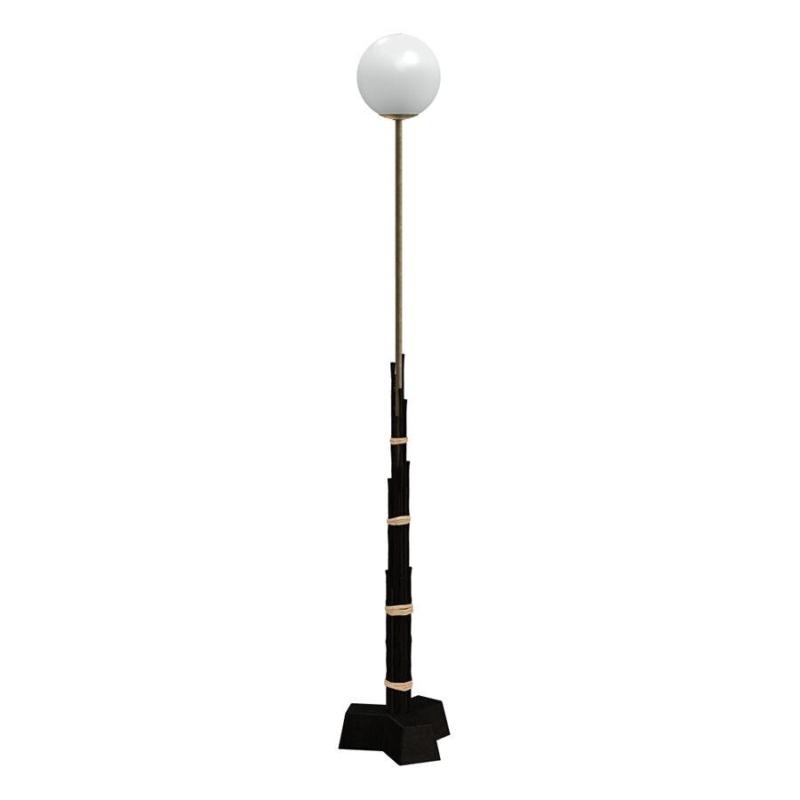 GERVASONI lampadaire BLACK 92 (H 175 cm - Black bamboo, laiton et verre)