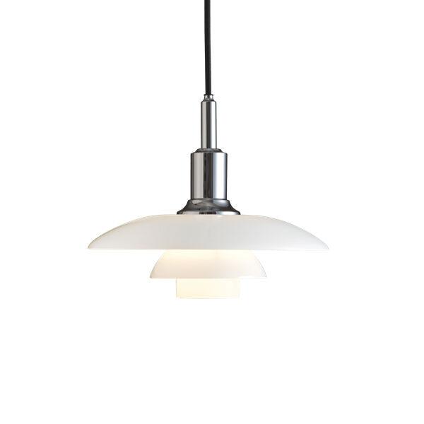 LOUIS POULSEN lampe à suspension PH 3/2 (Chrome extra brillant - Verre opalin souflé et métal)