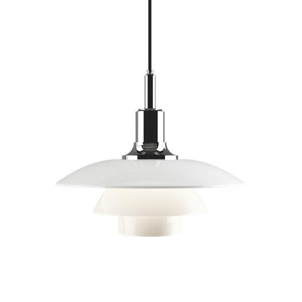 LOUIS POULSEN lampe à suspension PH 3 1/2 3 GLASS (Chrome extra brillant - Verre opalin souflé et métal)