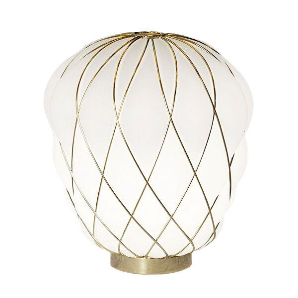 FONTANA ARTE lampe de table PINECONE Ø 30 cm (Blanc / Cage or - Verre soufflé et métal)