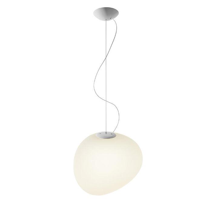 FOSCARINI lampe à suspension GREGG GRAND (blanc à LED dimmable - verre soufflé traité à l'acide)