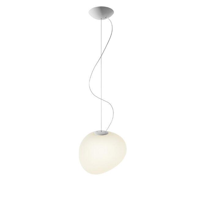 FOSCARINI lampe à suspension GREGG MOYENNE (blanc à LED dimmable - verre soufflé traité à l'acide)