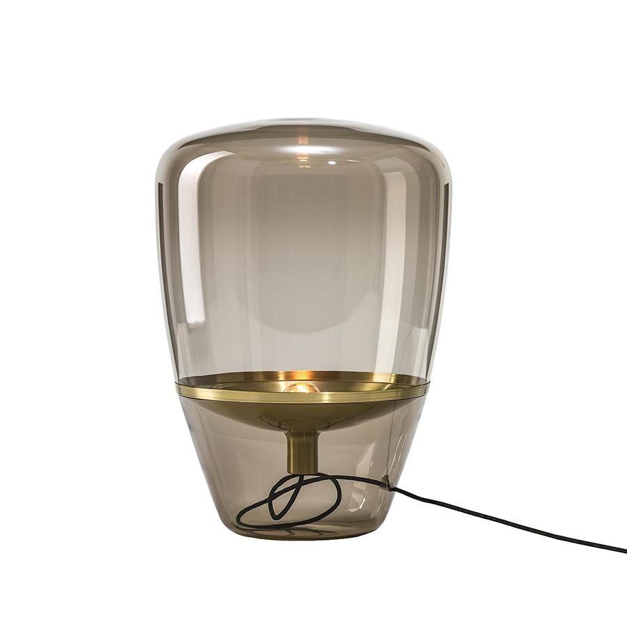 BROKIS lampe de table BALLOONS SMALL (Brun fumé / Laiton - Verre soufflé et métal)
