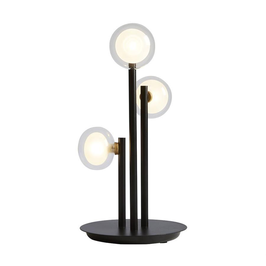 TOOY lampe de table NABILA 552.33 (Variateur sur câble, laiton brossé, transparent - verre et métal)