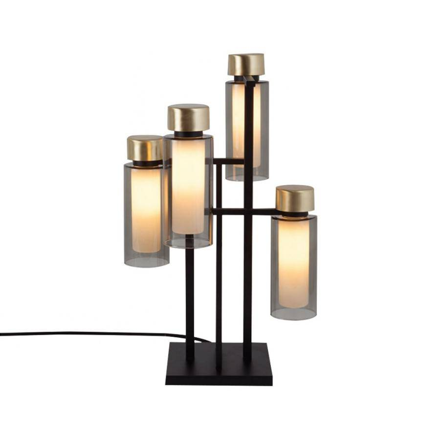 TOOY lampe de table OSMAN 560.34 (Variateur sur câble, laiton brossé, fumé - verre et métal)