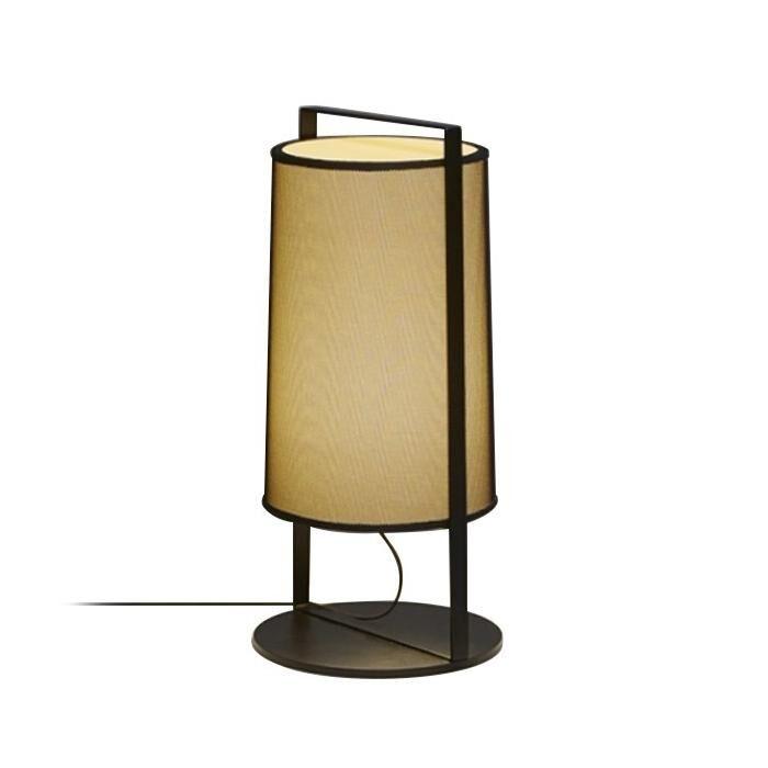 TOOY lampe de table MACAO 551.32 (Variateur sur câble, beige avec maille noire - tissu et métal)