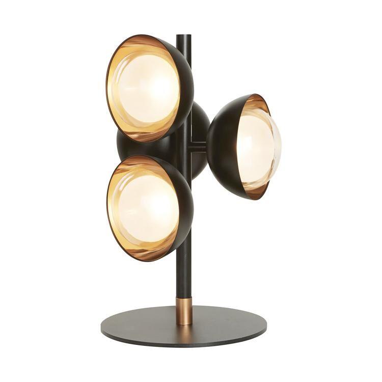 TOOY lampe de table MUSE 554.35 (Variateur sur câble, laiton brossé - verre et métal)