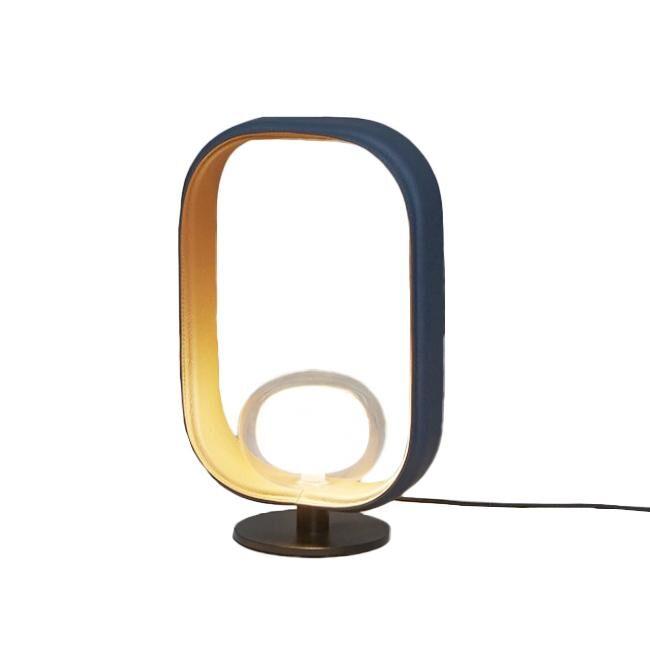 TOOY lampe de table FILIPA 555.31 (Variateur sur câble, cuir bi-couleur - verre et métal)