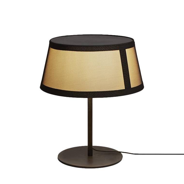 TOOY lampe de table LILLY 558.32 (Variateur sur câble, beige avec maille noire - verre et métal)