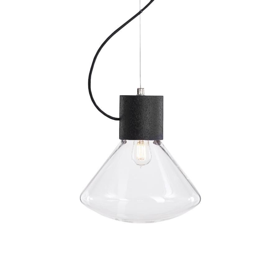 BROKIS lampe à suspension MUFFINS WOOD 07 (Transparent et noir - Verre soufflé et bois)