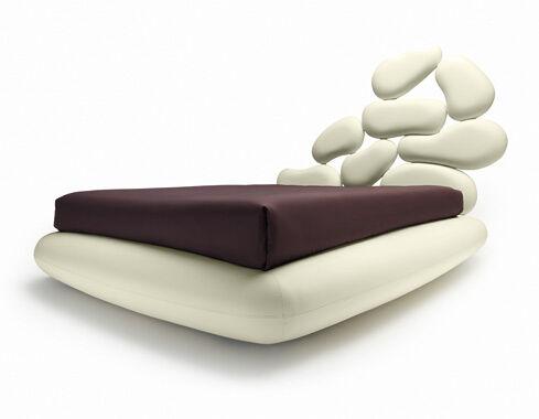 NOCTIS lit deux places STONES BOX avec bois de lit 160x200 cm (Blanc (blanc lait) - Tissu MOVER)