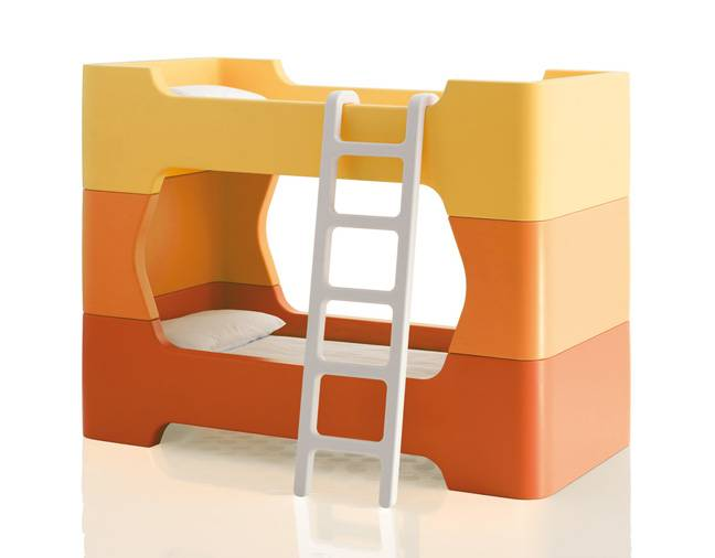 MAGIS lit superposé pour enfants avec matelas et échelle BUNKY (Orange - Polyéthylène)