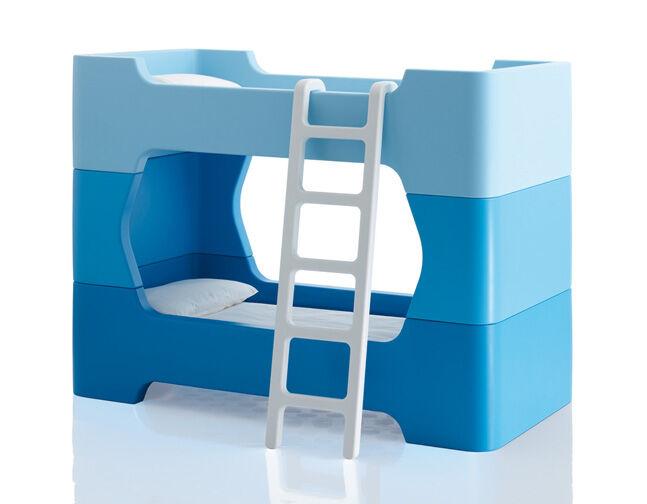 MAGIS lit superposé pour enfants avec matelas et échelle BUNKY (Bleu - Polyéthylène)