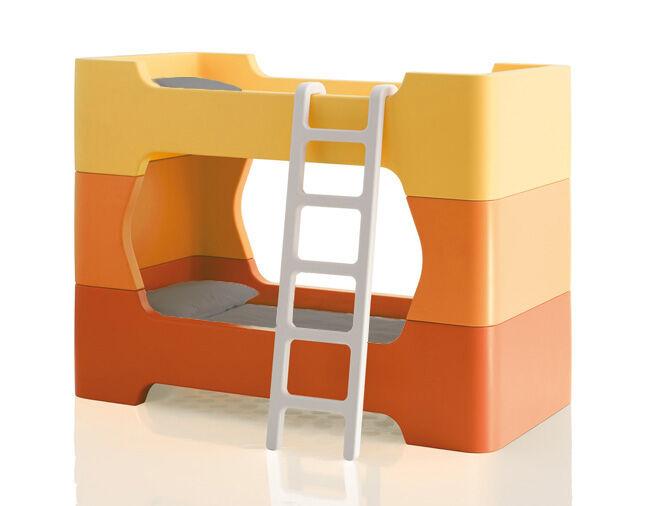 MAGIS lit superposé pour enfants avec échelle sans matelas BUNKY (Orange - Polyéthylène)