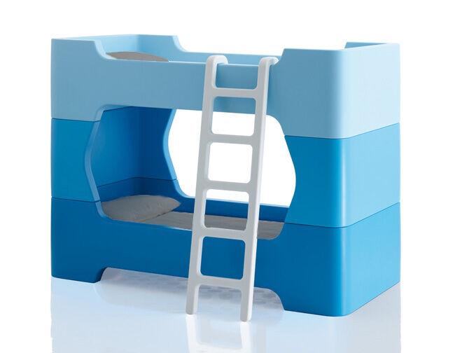 MAGIS lit superposé pour enfants avec échelle sans matelas BUNKY (Bleu - Polyéthylène)