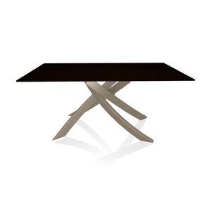 BONTEMPI CASA table avec structure sable ARTISTICO 20.13 160x90 cm (Laqué noir brillant - Plateau en verre et structure en acier laqué sable) - Publicité