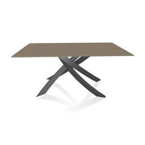 BONTEMPI CASA table avec structure anthracite ARTISTICO 20.13 160x90 cm (Tourterelle brillant - Plateau en verre et structure en acier laqué [...] - Publicité