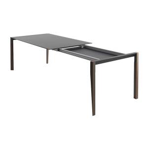 HORM table extensible à rallonge rectangulaire TANGO avec plateau en Fenix noir (125 x 100 cm noyer canaletto - Bois massift et Fenix) - Publicité