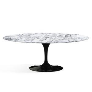 KNOLL table ovale TULIP collection Eero Saarinen 198x121cm (Base noire / plateau Arabescato satin - marbre et aluminium) - Publicité