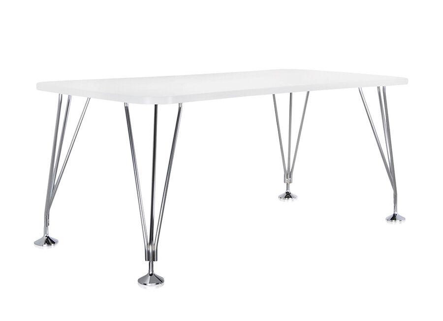 KARTELL table sur pieds MAX (L 160 cm / Blanc zinc - Pleateau laminé anti-rayures / Structure en acier chromé)