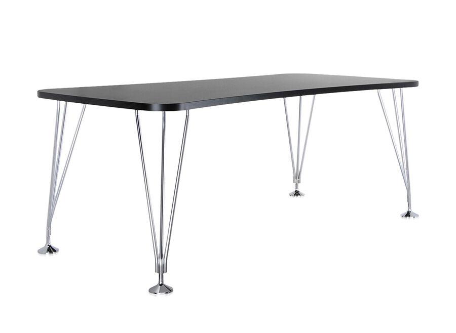 KARTELL table sur pieds MAX (L 190 cm / Ardoise - Pleateau laminé anti-rayures / Structure en acier chromé)