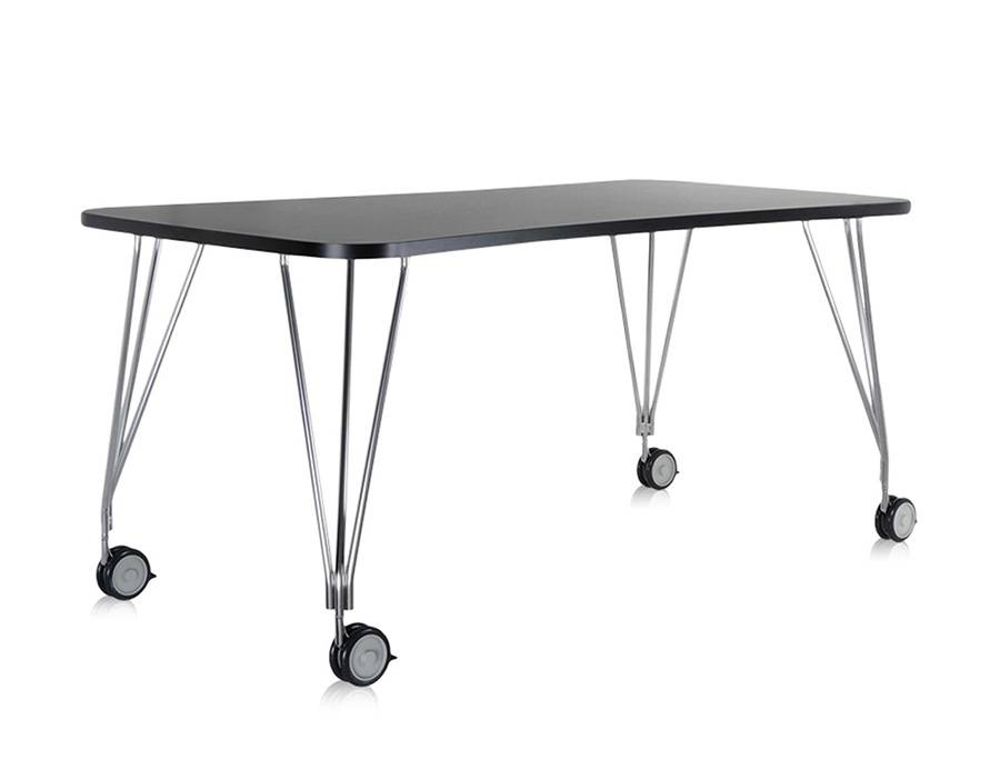 KARTELL table sur roulettes MAX (L 160 cm / Ardoise - Pleateau laminé anti-rayures / Structure en acier chromé)