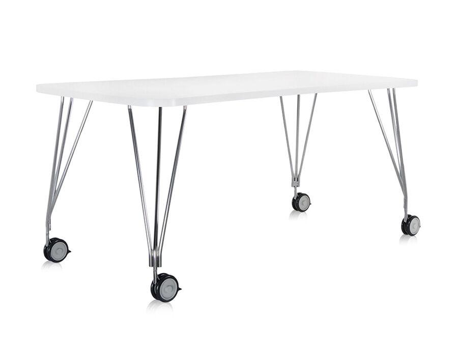 KARTELL table sur roulettes MAX (L 160 cm / Blanc zinc - Pleateau laminé anti-rayures / Structure en acier chromé)