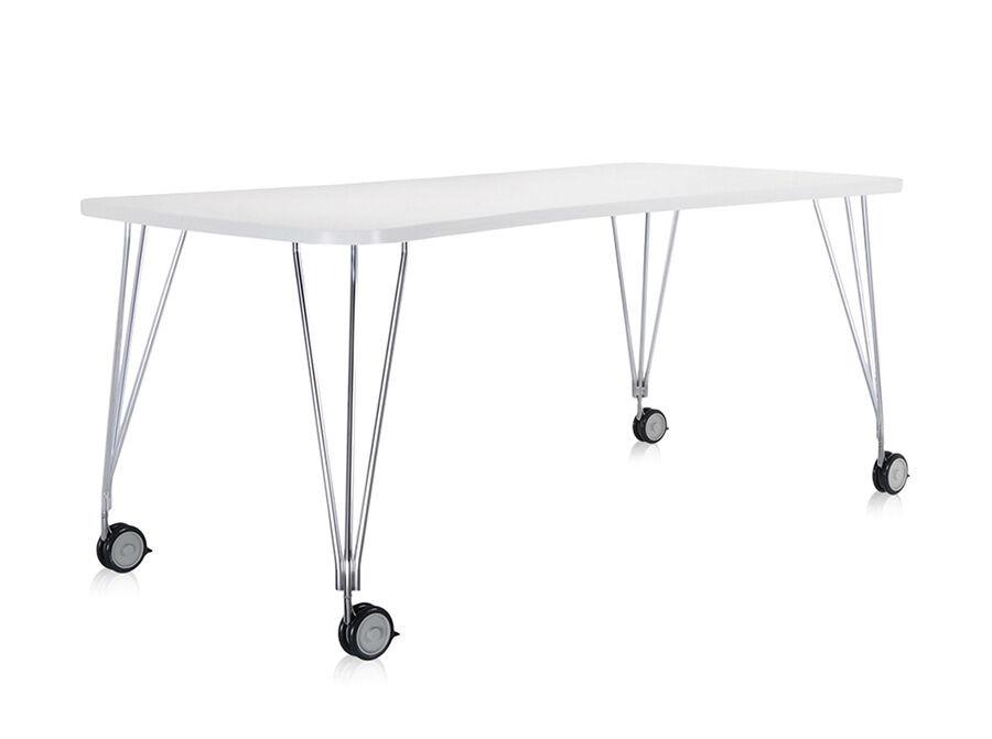 KARTELL table sur roulettes MAX (L 190 cm / Blanc zinc - Pleateau laminé anti-rayures / Structure en acier chromé)