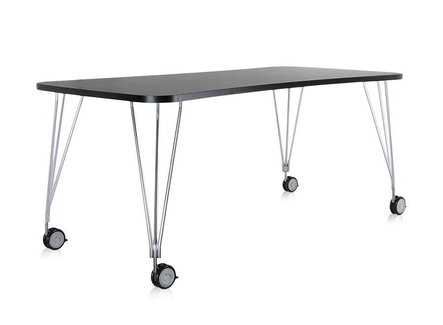 KARTELL table sur roulettes MAX (L 190 cm / Ardoise - Pleateau laminé anti-rayures / Structure en acier chromé)