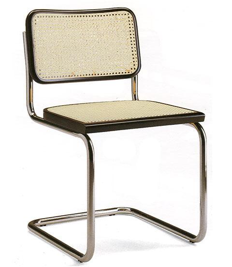 KNOLL chaise CESCA by Marcel Breuer (Hêtre noir laqué - Paille de Vienne et acier)
