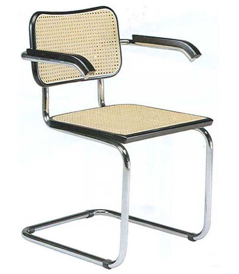 KNOLL fauteuil CESCA by Marcel Breuer (Hêtre noir laqué - Paille de Vienne et acier)