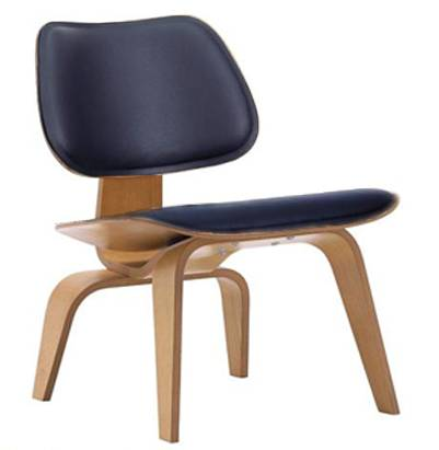 VITRA chaise longue Plywood LCW LEATHER (Naturel / Noir - frêne multi-couche / cuir)
