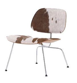 VITRA chaise longue Plywood LCM CALF'S SKIN (Naturel, peau brune / blanc / Chromé - frêne multi-couche / acier)