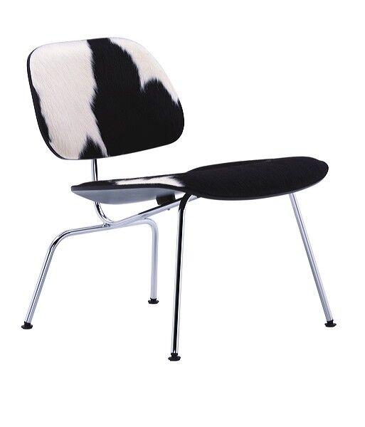 VITRA chaise longue Plywood LCM CALF'S SKIN (Noir, Peau noire et blanche / Chromée - frêne multi-couche / acier)