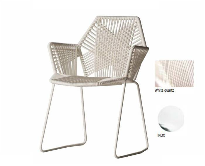 "MOROSO TROPICALIA chaise inox avec accoudoirs (Version ""A"" White Quartz - technopolymères / acier Inox)"