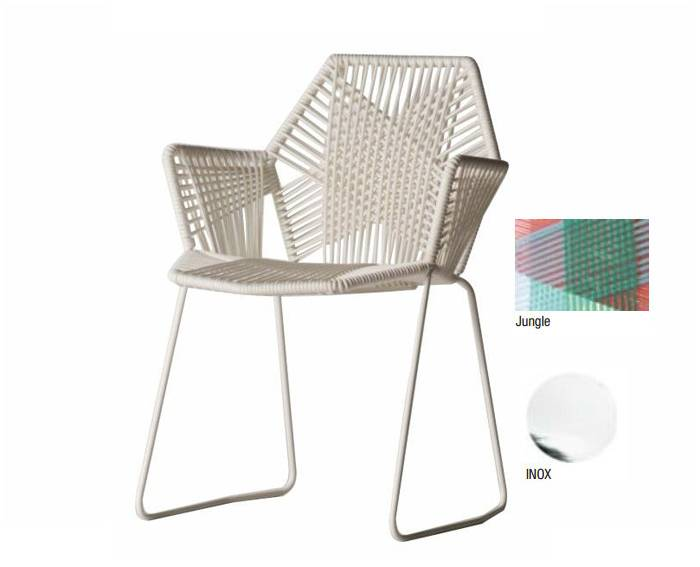 "MOROSO TROPICALIA chaise inox avec accoudoirs (Version ""A"" Jungle - technopolymères / acier Inox)"