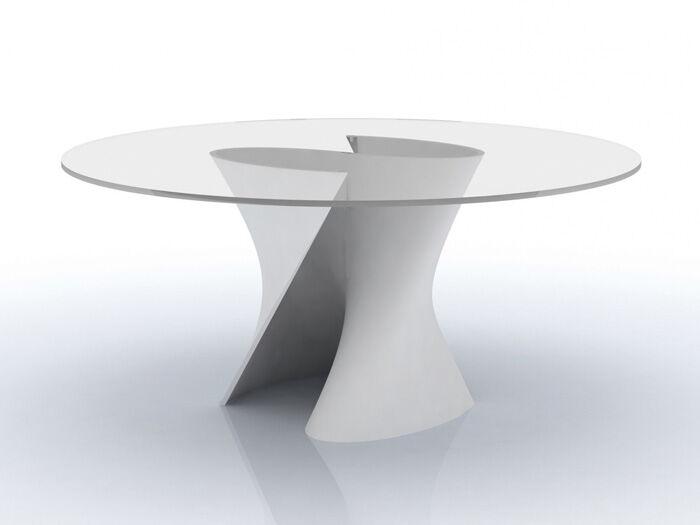 MDF ITALIA table ronde S TABLE Ø 140 cm (Blanc Opaque - structure en Cristalpant ® / pleateau en cristal extra light)