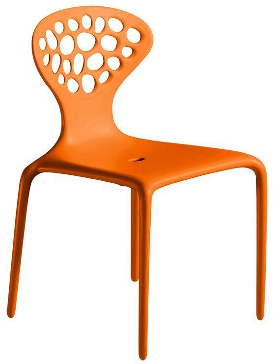 MOROSO ensemble de 4 chaises avec le dos perforé SUPERNATURAL (Orange - Polypropylène)
